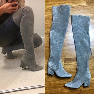 Shoes - Over The Knee Grey Suede Boots 7.5